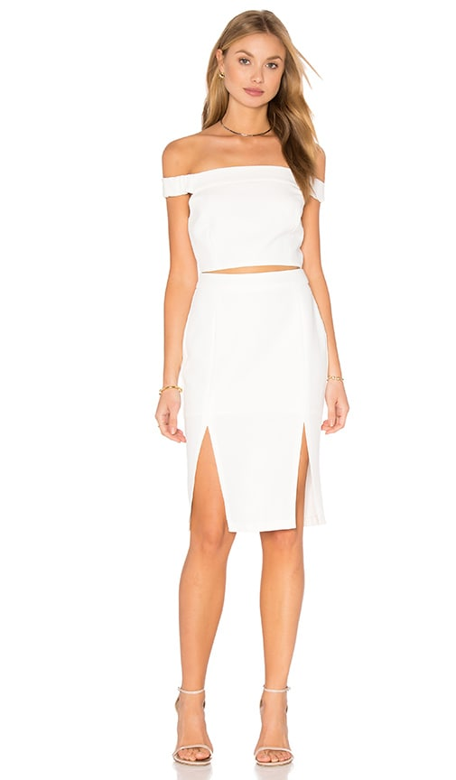 Endless Rose Off The Shoulder Cutout Dress in Off White