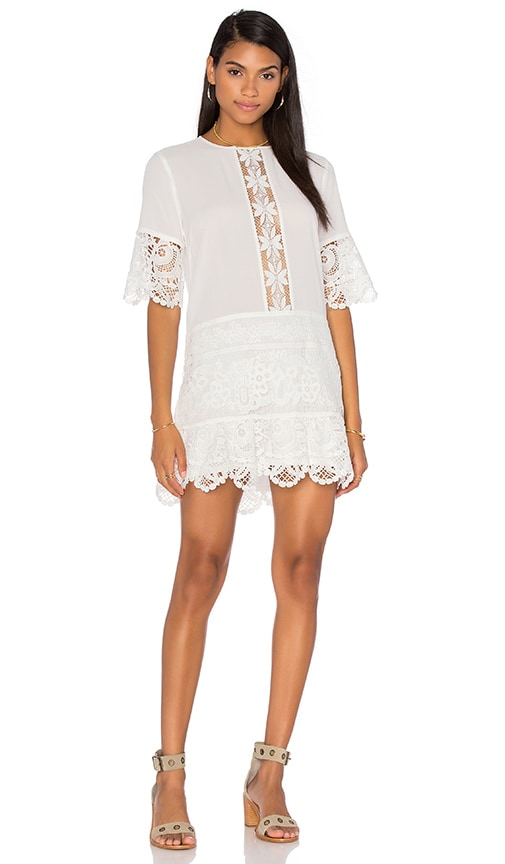 Endless Rose 3/4 Sleeve Crew Neck Woven Dress in Off White