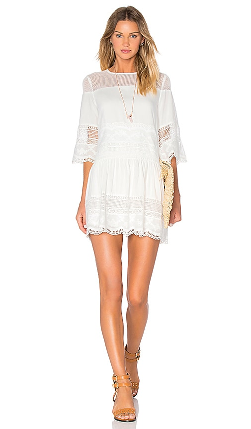 Endless Rose Drop Waist Lace Dress in Off White