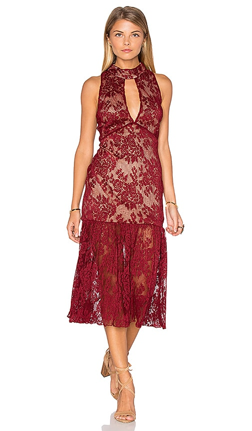 Endless Rose Sleeveless Lace High Neck Midi Dress in Burgundy