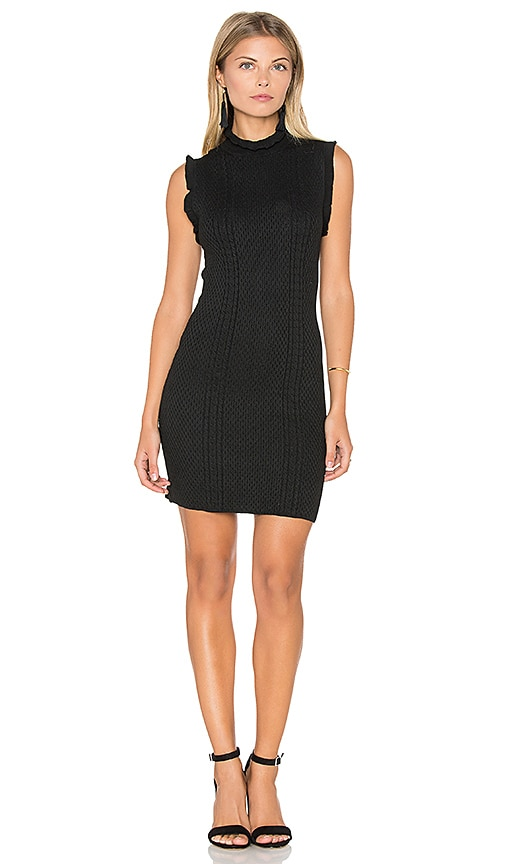 Endless Rose Knit Sleeveless Mock Neck Dress in Black