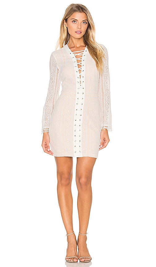 Endless Rose Long Sleeve Lace Up Dress in White