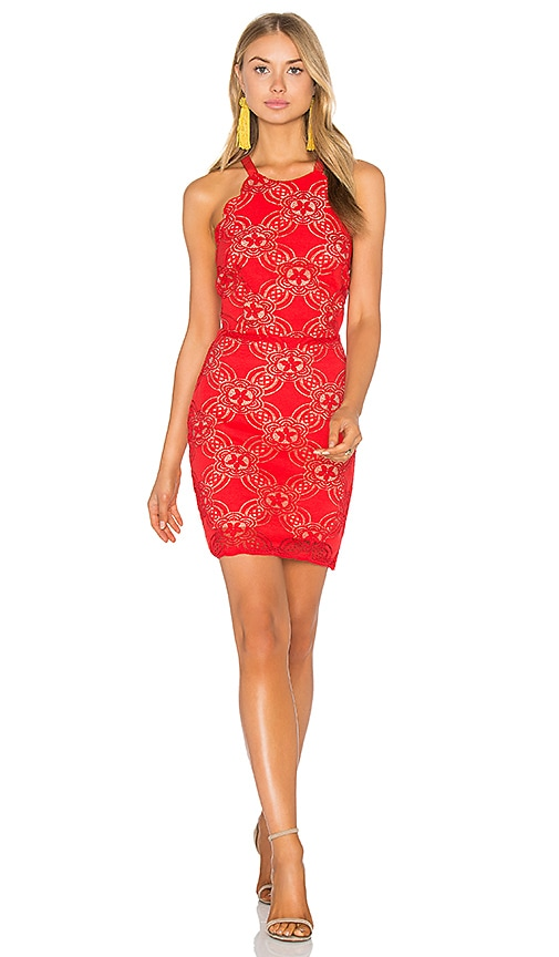 Endless Rose Woven Lace Dress in Red