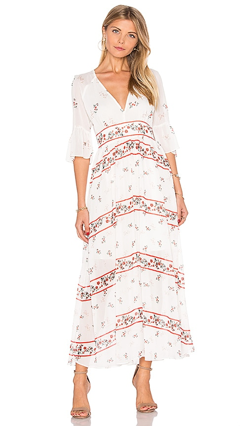 Endless Rose V Neck Floral Maxi Dress in White