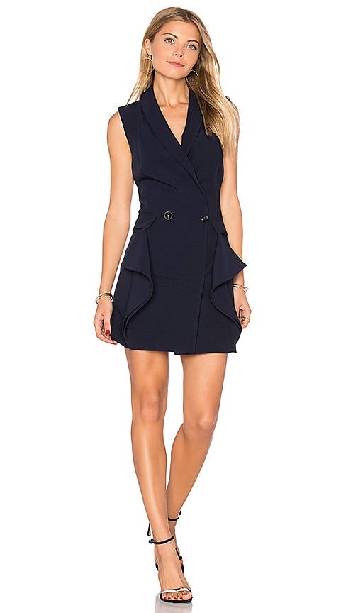 Endless Rose Sleeveless Tuxedo Mini Dress in Navy