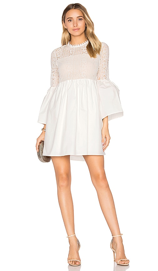 Endless Rose Flare Sleeve Lace Mini Dress in White