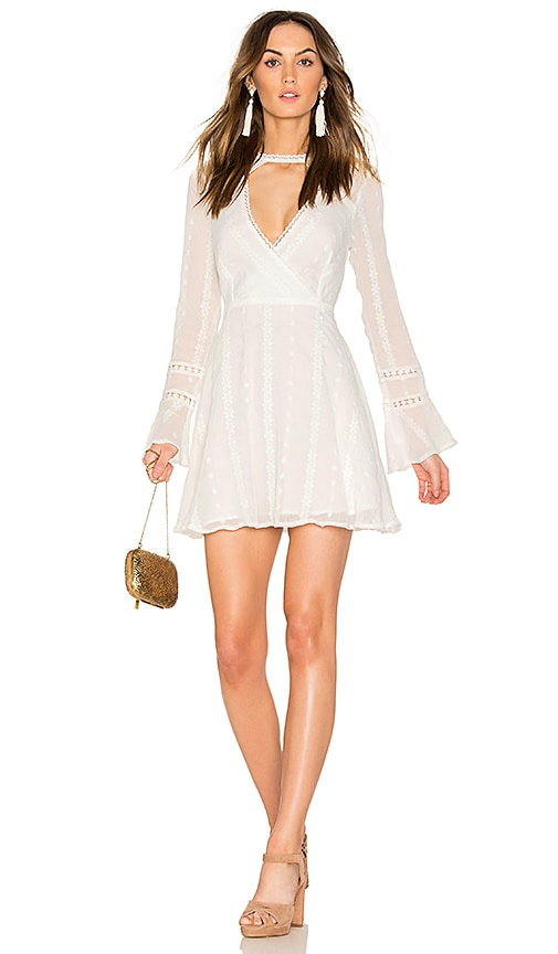 Endless Rose Flared Lace Dress with Bell Sleeves in White