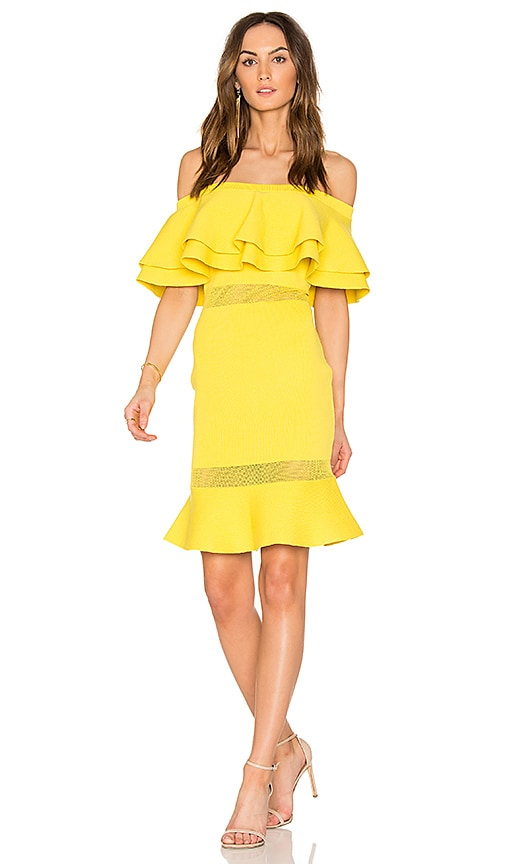 Endless Rose Flared Sweater Off The Shoulder Dress in Yellow
