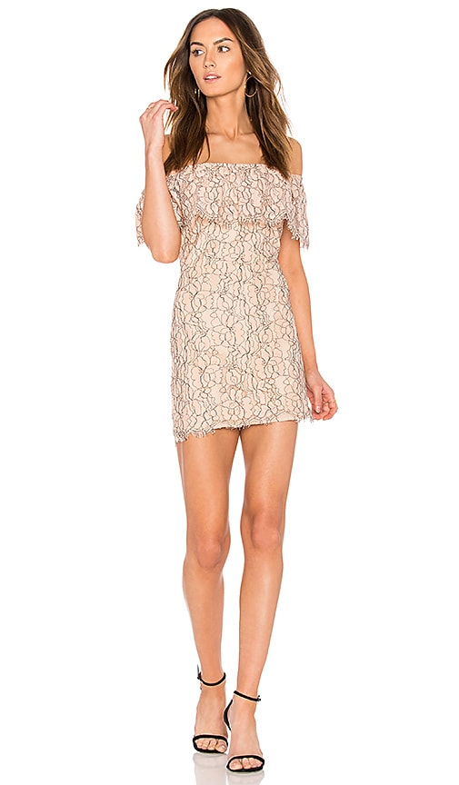 Endless Rose Lace Off The Shoulder Dress in Pink