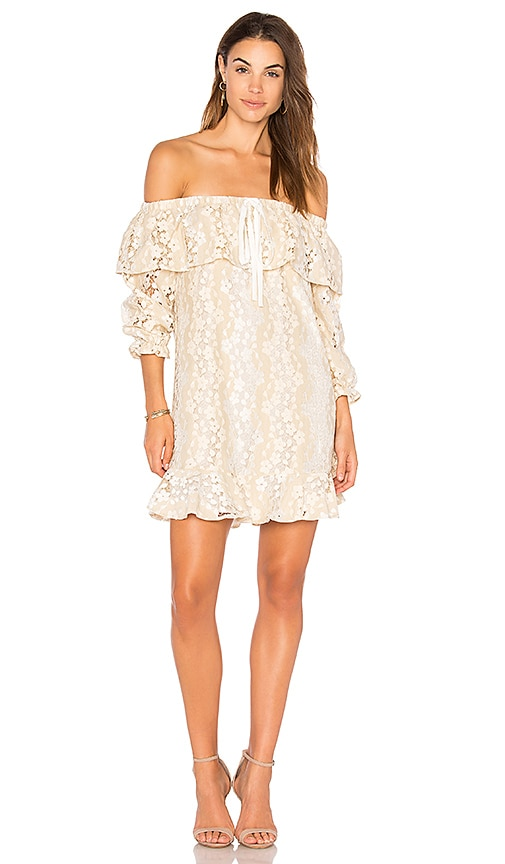 Endless Rose Off Shoulder Lace Dress With Tie in Beige