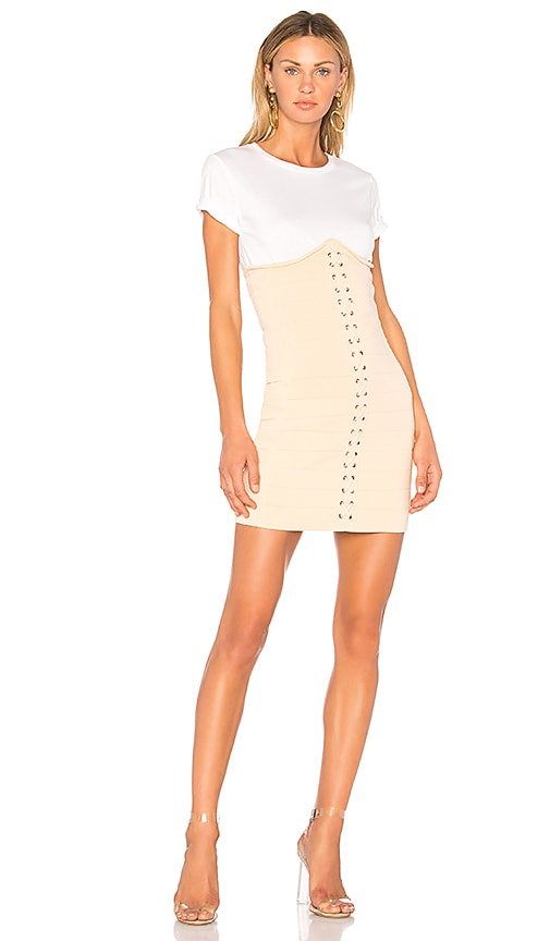 Endless Rose Knitted Corset T-Shirt Dress in Cream