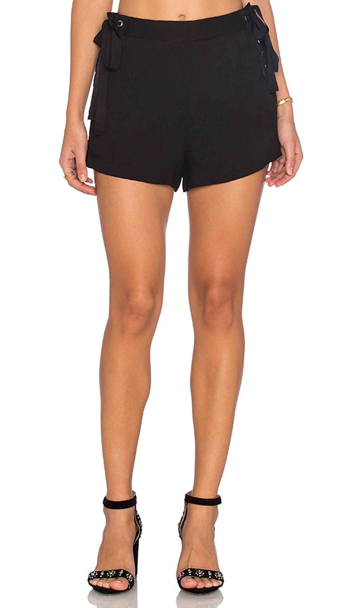 Endless Rose Woven Lace Up Short in Black