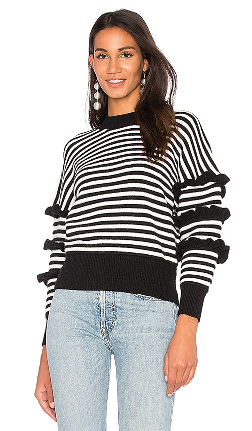 Endless Rose Ruffle Sleeve Detail Stripe Sweater in Black