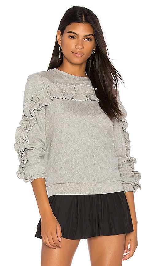 Endless Rose Ruffle Detail Sweater in Gray