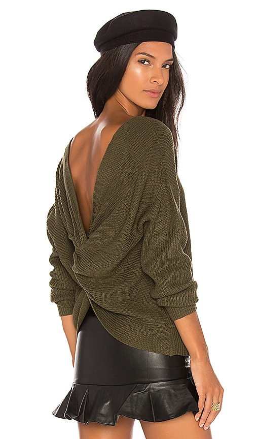 Endless Rose Back Detail Sweater in Green