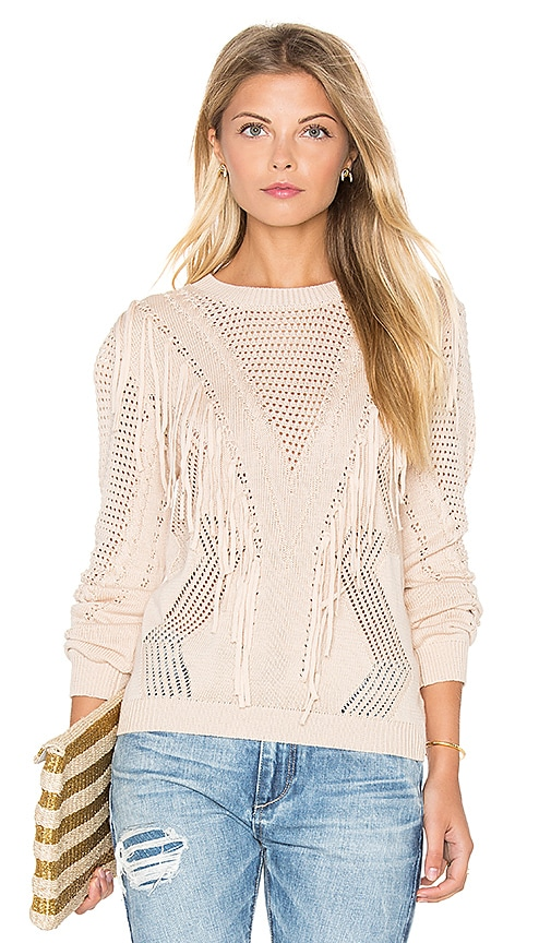 Endless Rose Fringe Sweater in Beige