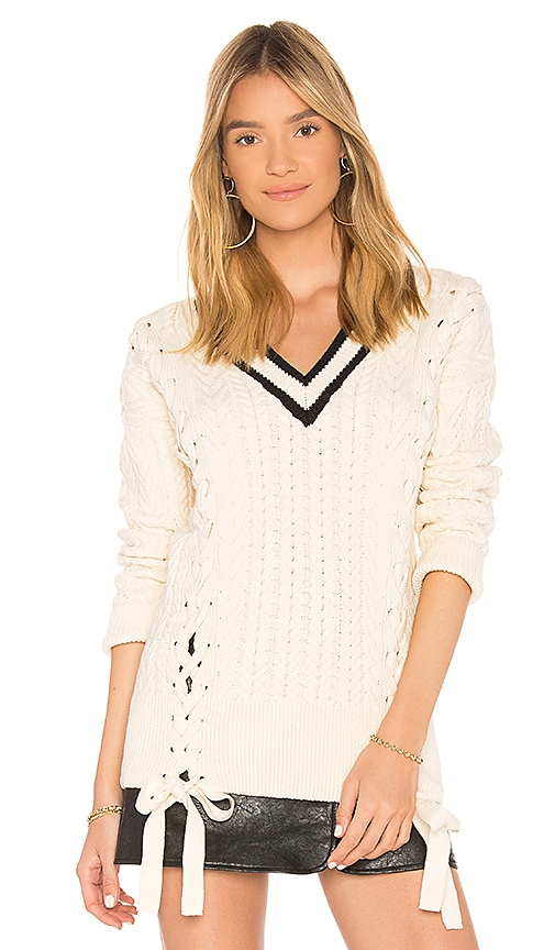 Endless Rose Lace Up Sweater in Ivory