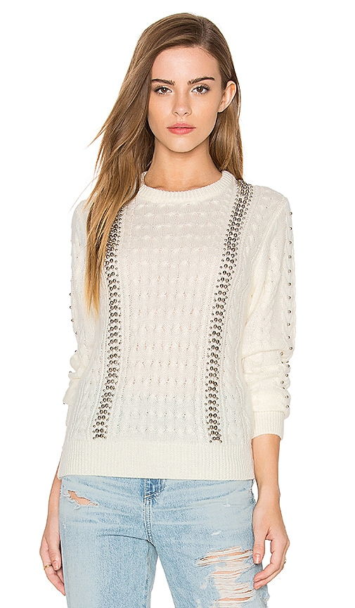 Endless Rose Long Sleeve Beaded Detail Sweater in Ivory