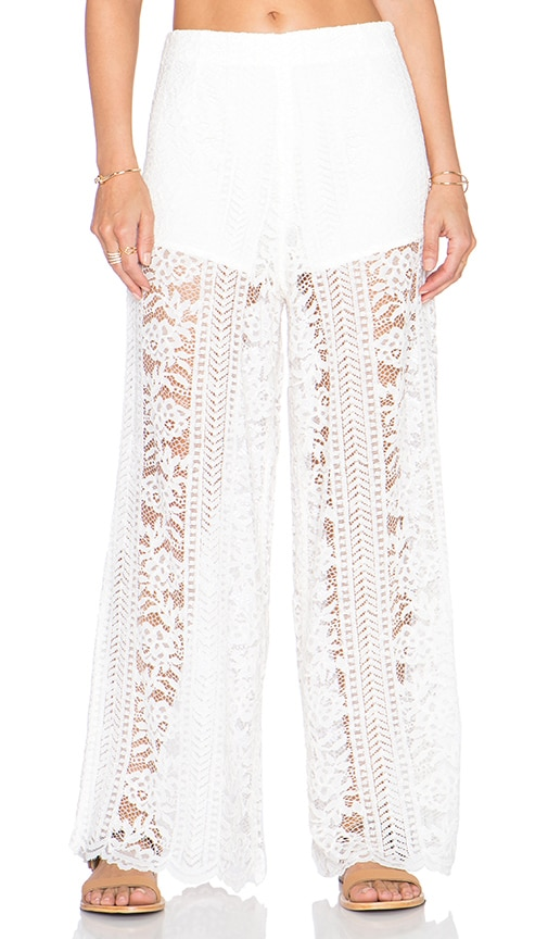 Endless Rose Lace Pant in Off White