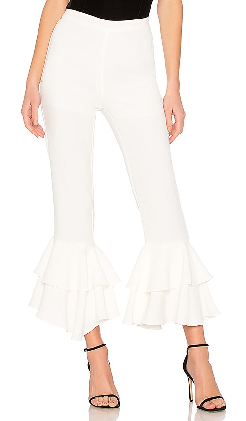 Endless Rose Ruffled Pants In Off White
