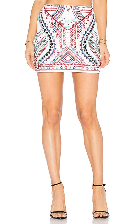 Endless Rose Embroidered Mini Skirt in White
