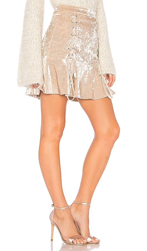 Endless Rose Crushed Velvet Mini Skirt in Beige