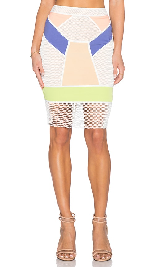 Endless Rose Colorblock Contrast Skirt in White Combo
