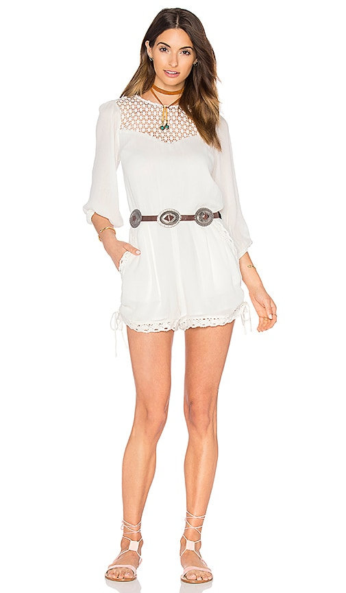 Endless Rose Woven Long Sleeve Romper in White