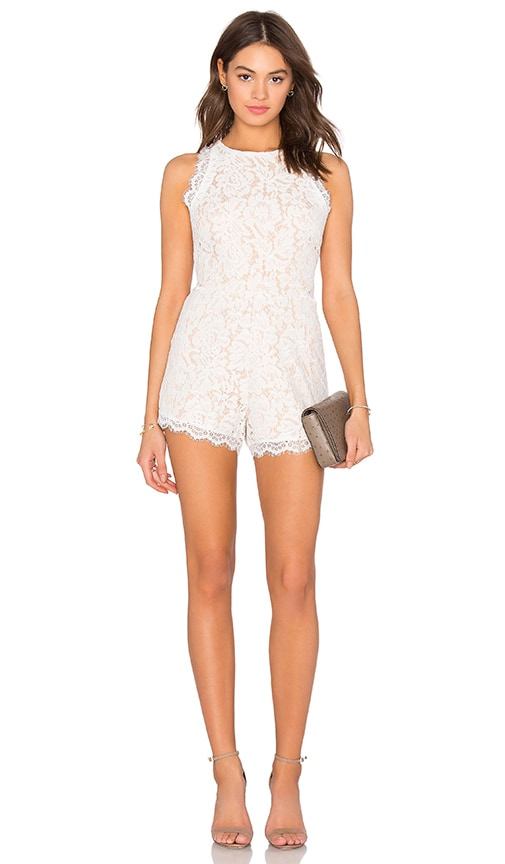 Endless Rose Woven Lace Romper in White
