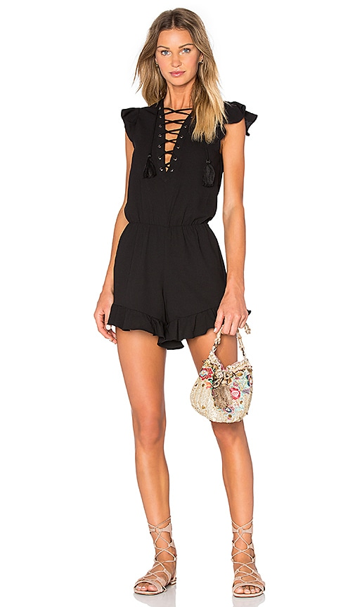 Lace Up Ruffle Romper