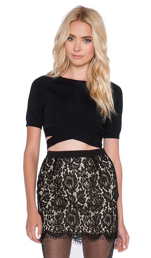 Endless Rose Wrap Crop Top in Black