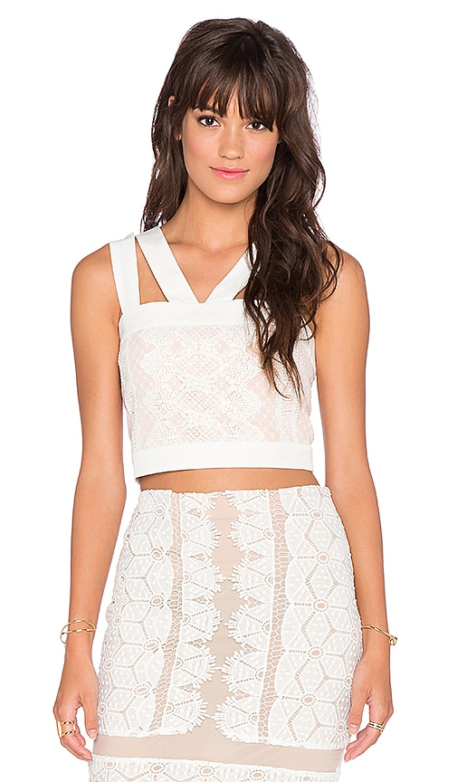 Endless Rose Lace Overlay Crop Top in White