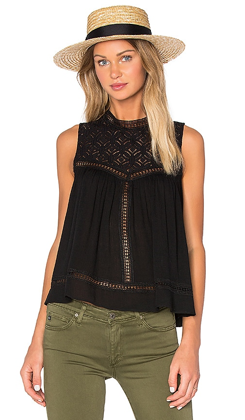 Endless Rose Sleeveless High Neck Top in Black