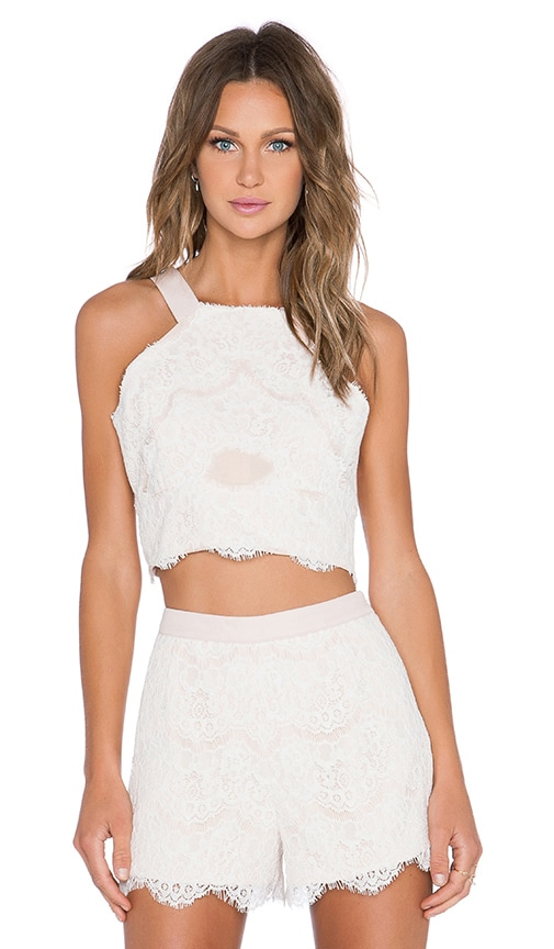 High Neck Lace Crop Top