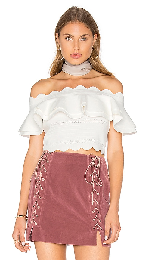 Endless Rose Off And Scallop Shoulder Top in Ivory
