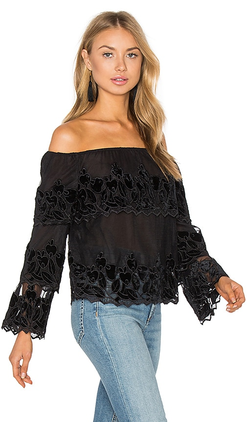 Endless Rose Off The Shoulder Top in Black