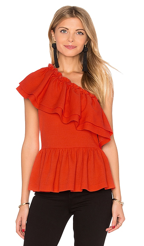 Endless Rose One Shoulder Ruffle Top in Orange