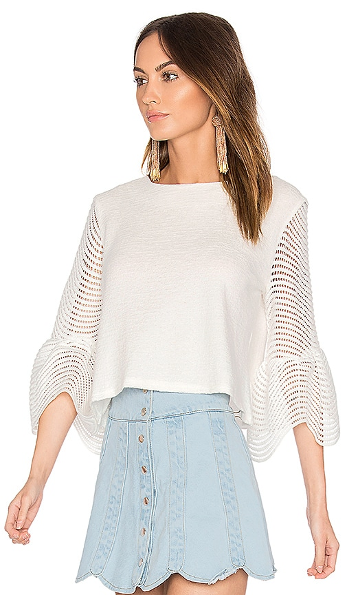 Endless Rose Cropped Bell Sleeve Top in White
