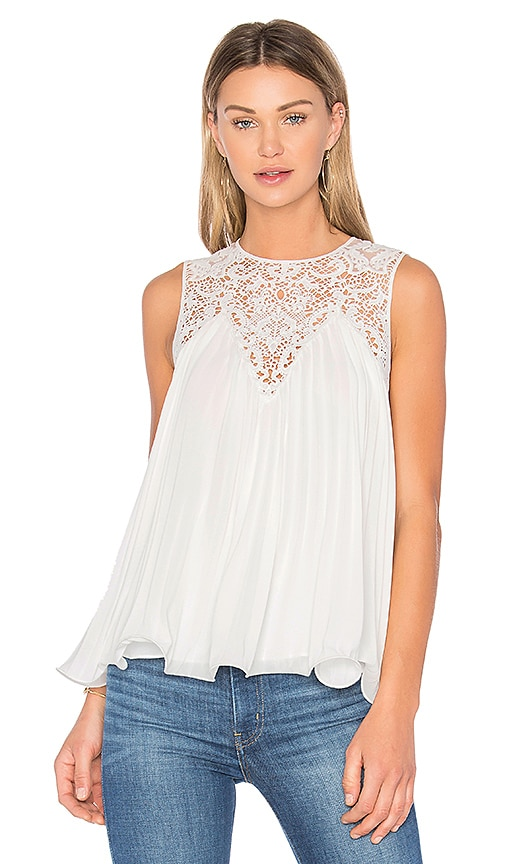 Endless Rose Lace Detail Pleated Top in White