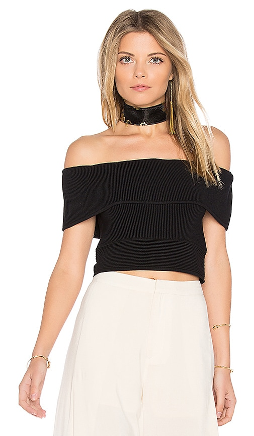 Endless Rose Open Shoulder Crop Top in Black