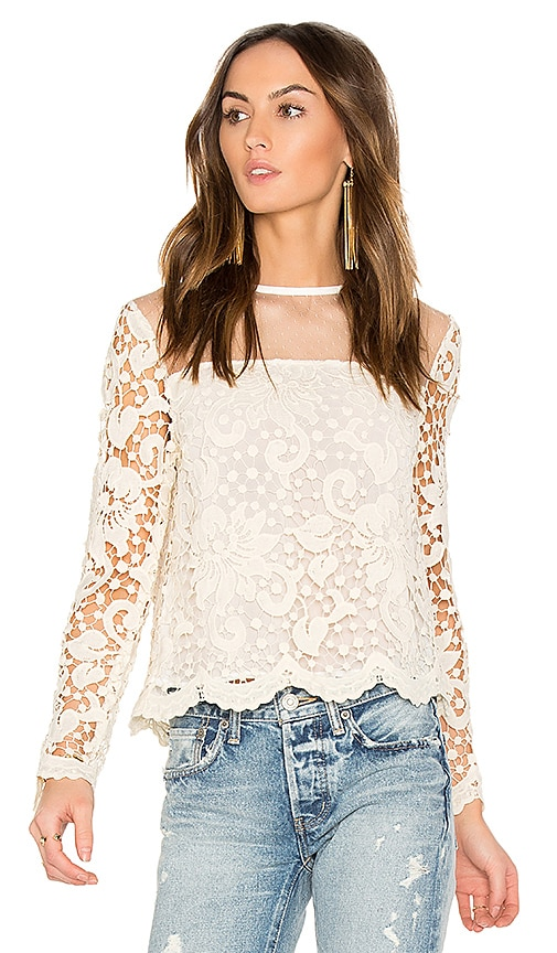 Endless Rose Swiss Dot Mesh Top in Ivory