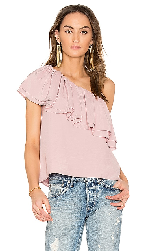 Endless Rose Asymmetrical Ruffle Top in Rose