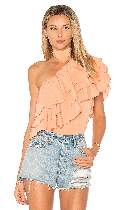 Endless Rose One Shoulder Ruffle Overlay Top With in Coral