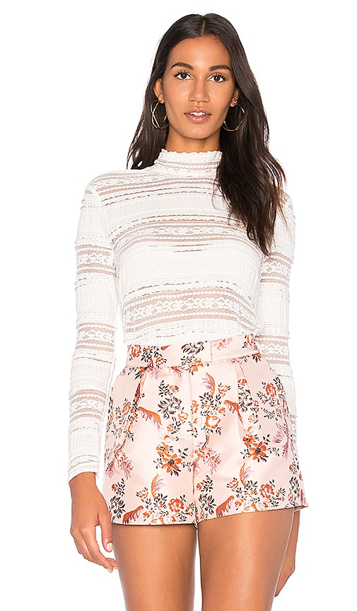 MOCK NECK TEXTURED LACE TOP Endless Rose