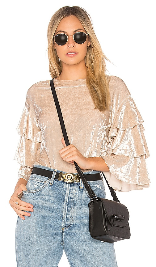 Endless Rose Crushed Velvet Top in Beige
