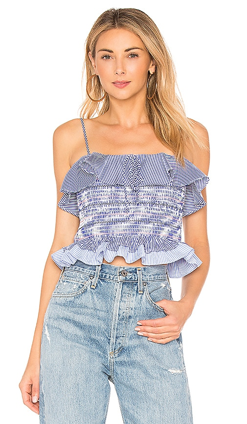 Endless Rose Smocked Ruffle Top in Blue