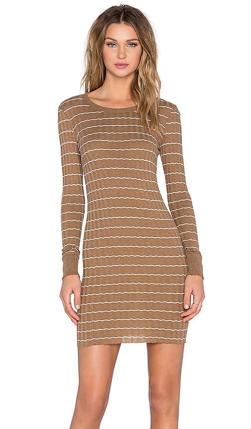 Enza Costa Cashmere Long Sleeve Mini Dress in Tan