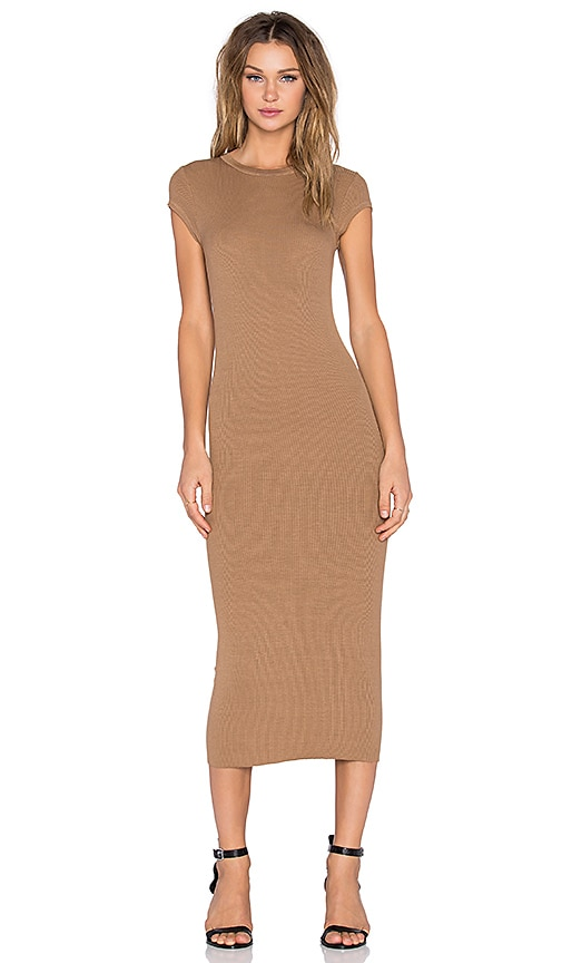 Enza Costa Rib Cap Sleeve Dress in Sand