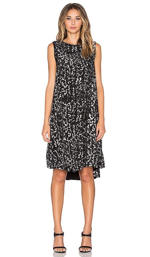 Enza Costa Sleeveless Trapeze Dress in Black & White