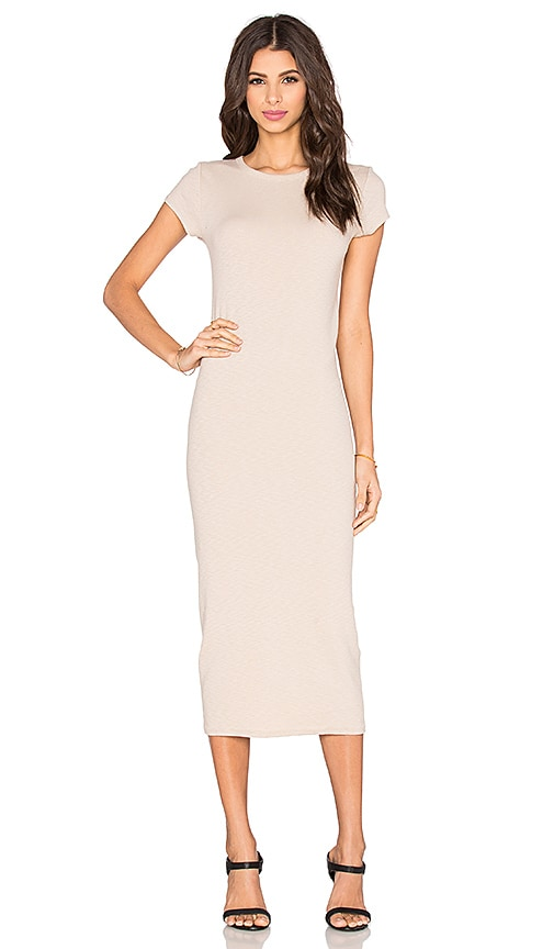 Rib Cap Sleeve Midi Dress
